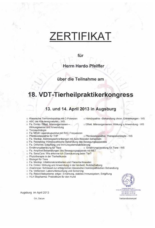 Tierheilpraxis Hardo Pfeiffer - Kongress