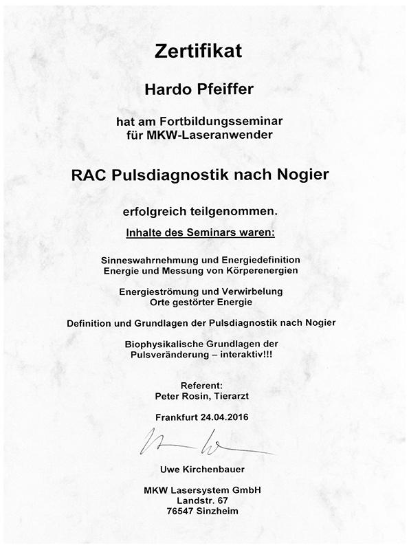 Tierheilpraxis Hardo Pfeiffer - Fortbildungsseminar RAC Pulsdiagnostik nach Nogier