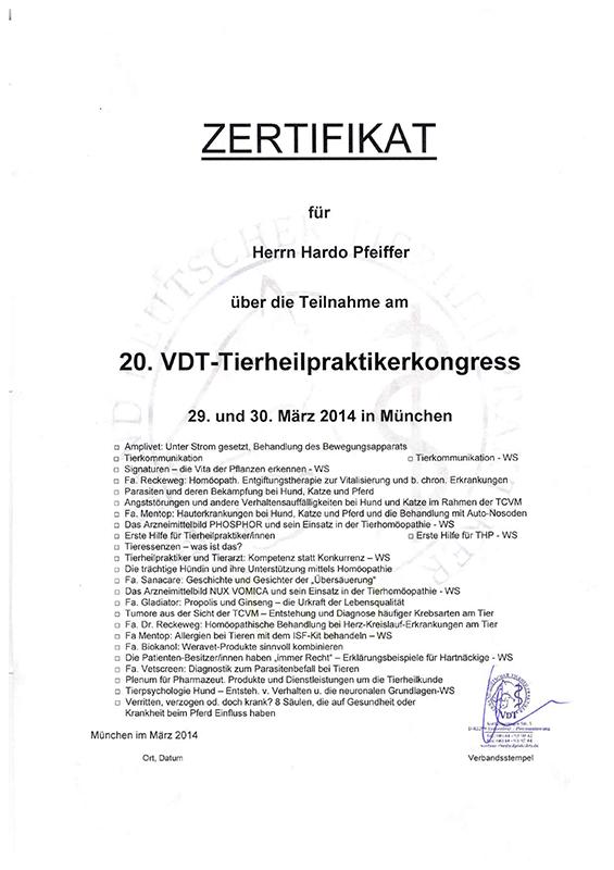 Tierheilpraxis Hardo Pfeiffer - 20. VDT-Tierheilpraktikerkongress