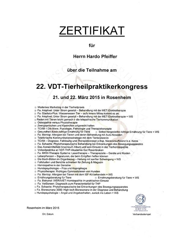 Tierheilpraxis Hardo Pfeiffer - 22. VDT-Tierheilpraktikerkongress