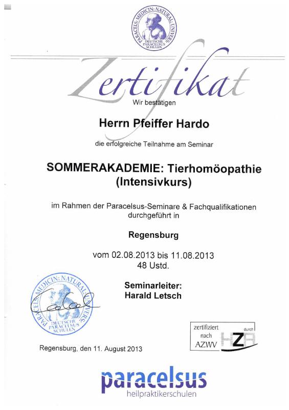 Tierheilpraxis Hardo Pfeiffer - Sommerakademie