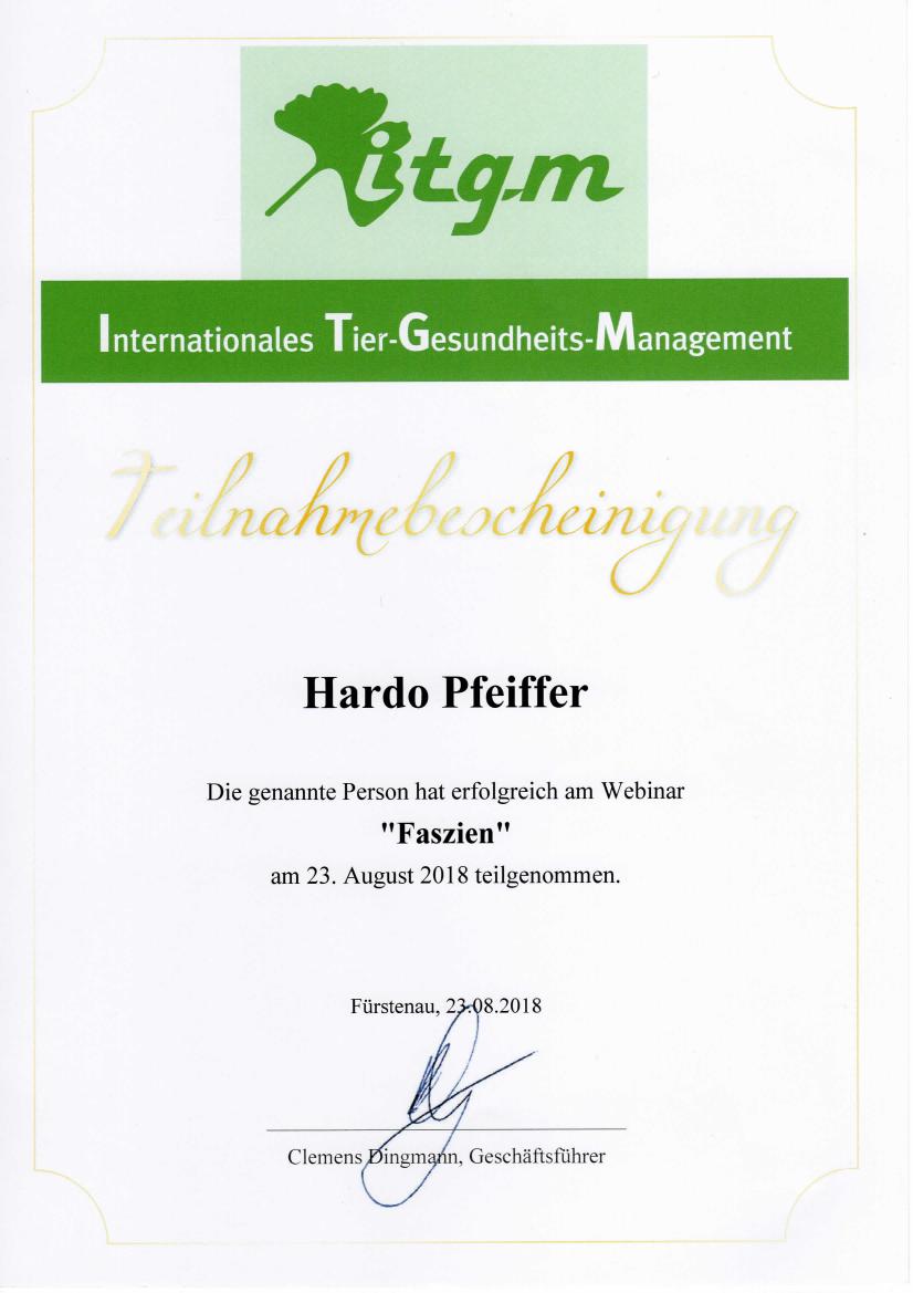Tierheilpraxis Hardo Pfeiffer - Seminar 'Faszien'