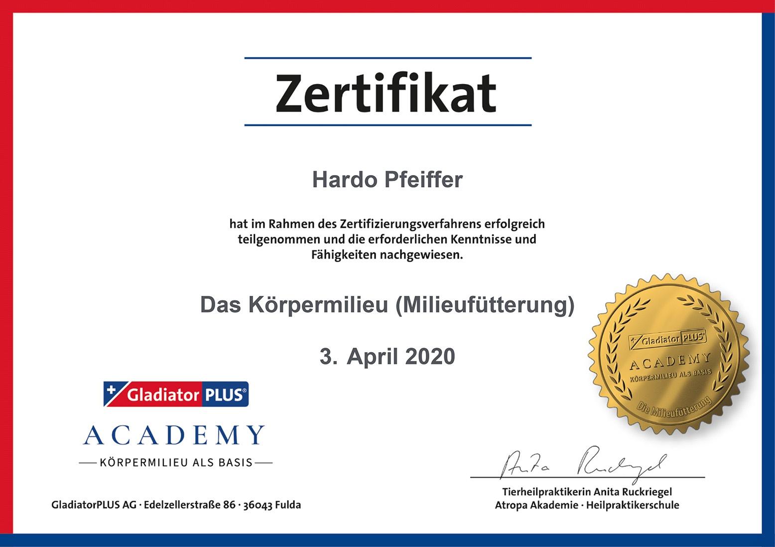 Tierheilpraxis Hardo Pfeiffer – Zertifikat - Das Körpermilieu
