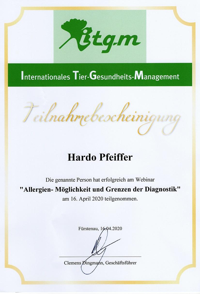 Tierheilpraxis Hardo Pfeiffer-Webinar Allergien-Möglichkeiten und Grenzen der Diagnostik